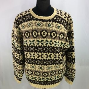 J Crew Mens Alpine Style Wool Sweater Large L
